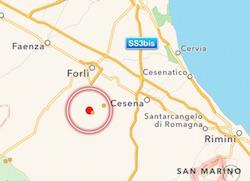 terremoto oggi in tempo reale tra forli e cesena meldola san colombano emilia romagna