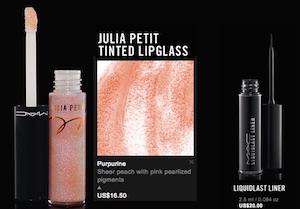 mac julia petit lipgloss e eyeliner