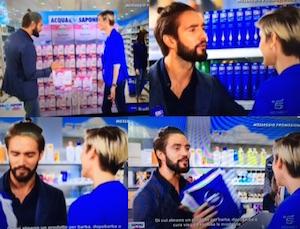 Alex Belli e Katarina Raniakova pubblicita Acqua e Sapone