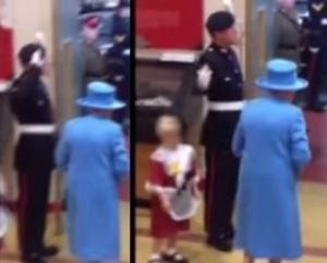 bimba colpita per errore dalla guardia della regina elisabetta II