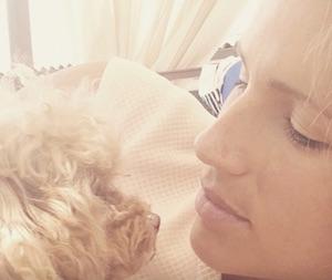 michelle hunziker triste su instagram foto con il cane