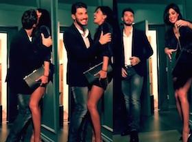 belen e stefano video news instagram spot sexy e comico  piazza italia belen perde la borsa