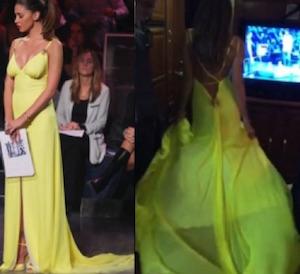 Lo stilista dell abito giallo indossato da Belen Rodriguez durante la  finale di Tu si que vales è Fausto Puglisi. Stilista scelto anche Alessia  Marcuzzi ... b6a2a5136b9
