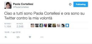 il profilo twitter di paola cortellesi aperto da laura pausini in diretta tv durante lo show di raiumo paola e laura