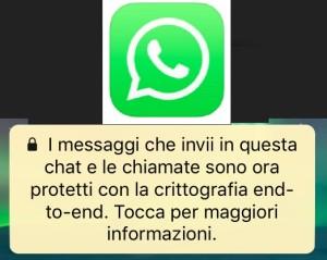 whatsapp messaggio chat e chiamata prottete crittografia che significa