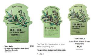 tony moly maschere viso diversi prezzi tra italia spagna e america