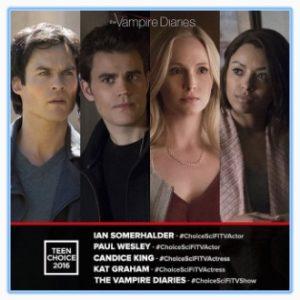 Teen Choice Awards 2016, candidati Ian Somerhalder, Paul Wesley, Kat Graham e Candice King