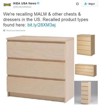 Cassettiere Malm Di Ikea.Ikea Usa Ritira Cassettiera Malm Il Mobile Ha Ucciso 6 Bambini