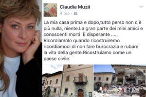 claudia muzii i cesaroni pamela perde casa nel terremoto centro italia