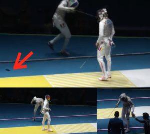 olimpiadi rio lefort perde il cellulare durante la diretta TV incontro germania e francia scherma