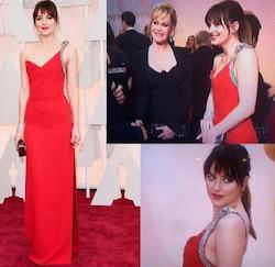 Dakota Johnson in abito rosso YSL con Melanie Griffith agli Oscar 2015
