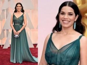 Oscar 2015 abiti e stilisti: America Ferrera in abito verde di Jenny Packham