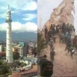 terremoto nepal Kathmandu crolla la torre Dharahara immagini