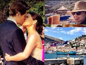 america ferrera e  Ryan Piers Williams vacanze in grecia per anniversario di matrimonio