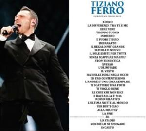 scaletta canzoni concerto tiziano ferro europan tour 2016