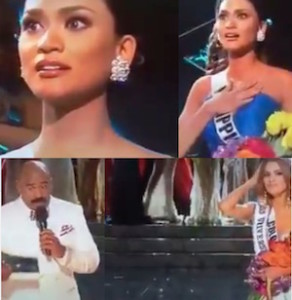 gaffe errore video miss universo 2015 non e miss colombia ma miss filippine la vincitrice miss universo