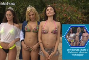 Video Occhi di gatto Paola Caruso Gloria Patricia Contreras e Gracia De Torre arrivo a isla desnuda playa isola dei famosi 2016