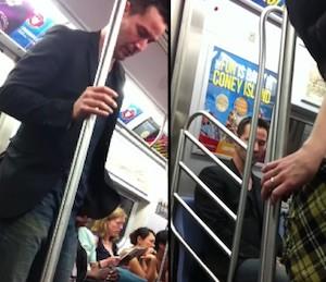 video Keanu Reevers in Metro  tram new york lascia il posto ad una signora
