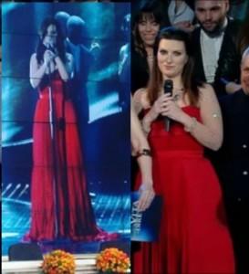 laura pausini abito rosso non indossato a sanremo riciclato per lo show di raiuno