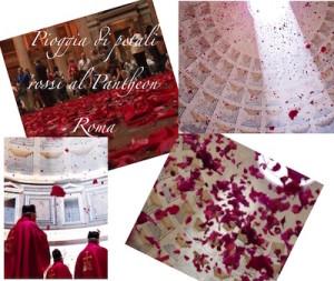 pioggia di petali rossi nel pantheon roma 15 maggio 2016 ora e evento
