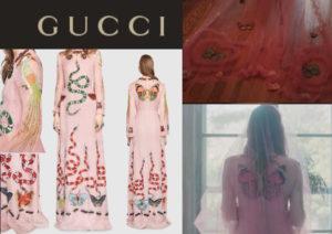 abito da sposa gucci disegnato da alessandro michele rosa con farfalle e serpenti eden