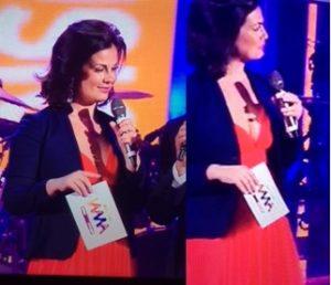 vanessa incontrda abito rosso wind music awards incinta