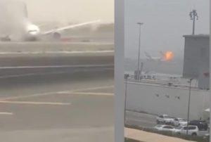 aereo esplode a dubai veniva dall india video