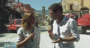marco liorni e cristina parodi in diretta da amatrice dopo il terremoto a la vita in diretta