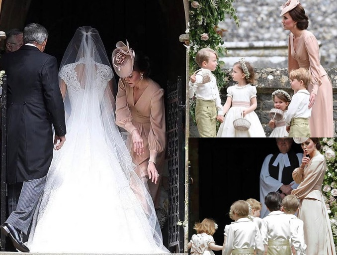 Matrimonio Di Pippa : Catherine middleton sistema il vestito di pippa