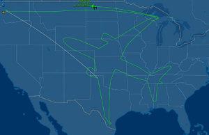 Boeing 787 Dreamline: vola 18 sugli Stati Uniti D'America con una rotta che disegna un aereo